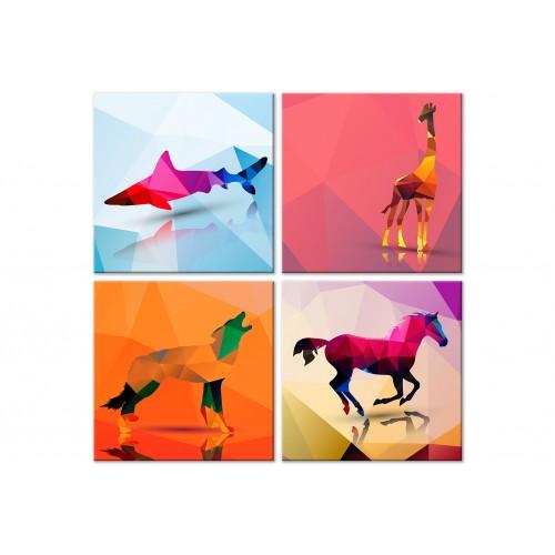 Quadro - Geometric Animals (4 Parts) - Quadri e decorazioni