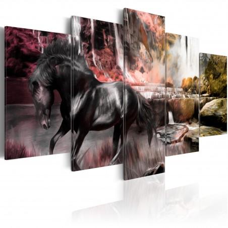 Quadro - Cavallo nero sullo sfondo di un cielo cremisi - Quadri e decorazioni
