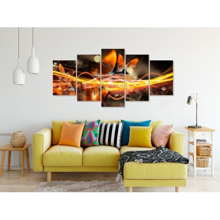 Quadro - Swarm of Butterflies (5 Parts) Wide Orange - Quadri e decorazioni