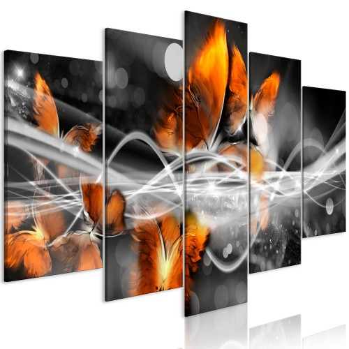 Quadro - Swarm of Butterflies (5 Parts) Wide Grey - Quadri e decorazioni
