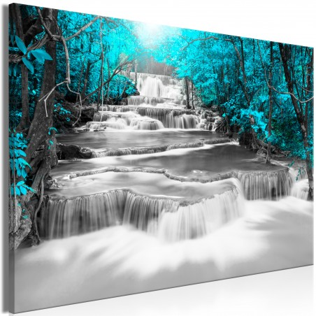 Quadro - Cascade of Thoughts (1 Part) Wide Turquoise - Quadri e decorazioni