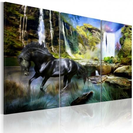 Quadro - Cavallo sullo sfondo di una cascata azzurra - Quadri e decorazioni