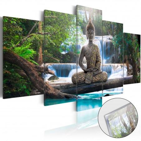 Quadri su vetro acrilico - Buddha and Waterfall [Glass] - Quadri e decorazioni