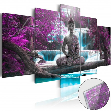 Quadri su vetro acrilico - Waterfall and Buddha [Glass] - Quadri e decorazioni