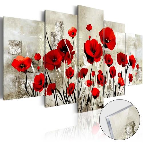 Quadri su vetro acrilico - Campo di scarlatto [Glass] - Quadri e decorazioni
