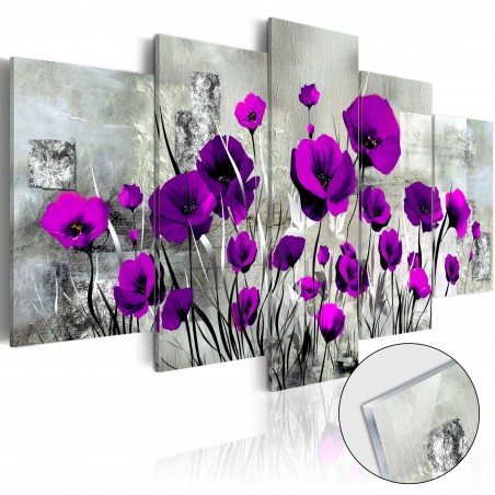 Quadri su vetro acrilico - Meadow: Purple Poppies [Glass] - Quadri e decorazioni