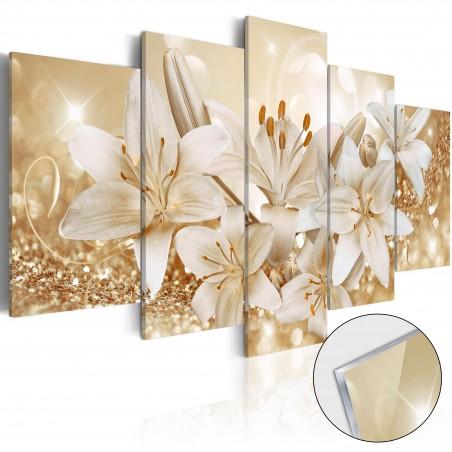 Quadri su vetro acrilico - Golden Bouquet [Glass] - Quadri e decorazioni