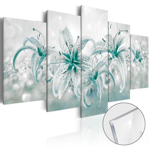 Quadri su vetro acrilico - Sapphire Lilies [Glass] - Quadri e decorazioni