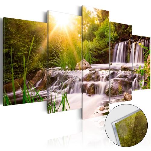 Quadri su vetro acrilico - Forest Waterfall [Glass] - Quadri e decorazioni