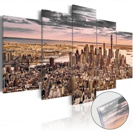 Quadri su vetro acrilico - New York City: Morning Sky [Glass] - Quadri e decorazioni