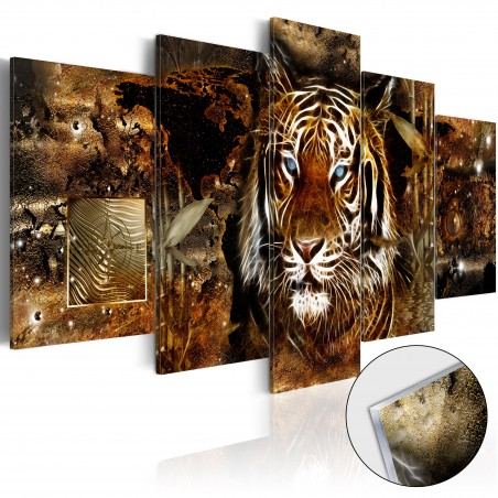 Quadri su vetro acrilico - Golden Jungle [Glass] - Quadri e decorazioni