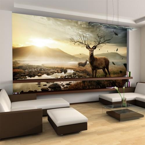 Fotomurale - Cervo e torrente di montagna - Quadri e decorazioni