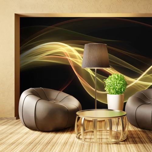 Fotomurale - Onda gialla dinamica su sfondo nero - Quadri e decorazioni