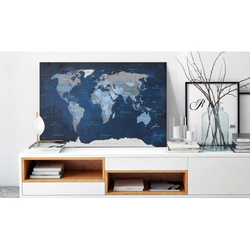 Quadri di sughero - Dark Blue World [Cork Map] - Quadri e decorazioni