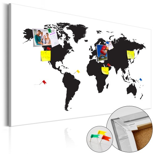 Quadri di sughero - World Map: Black & White Elegance [Cork Map] - Quadri e decorazioni