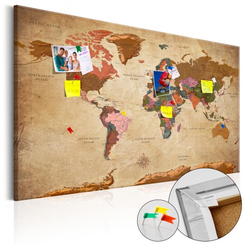 Quadri di sughero - World Map: Brown Elegance [Cork Map] - Quadri e decorazioni