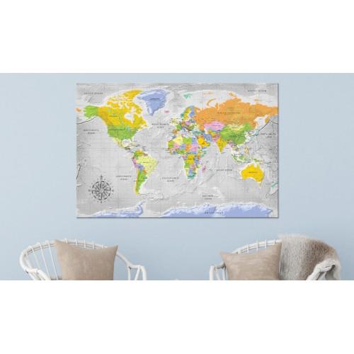 Quadri di sughero - World Map: Wind Rose [Cork Map] - Quadri e decorazioni