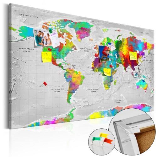 Quadri di sughero - Maps: Colourful Finesse [Cork Map] - Quadri e decorazioni