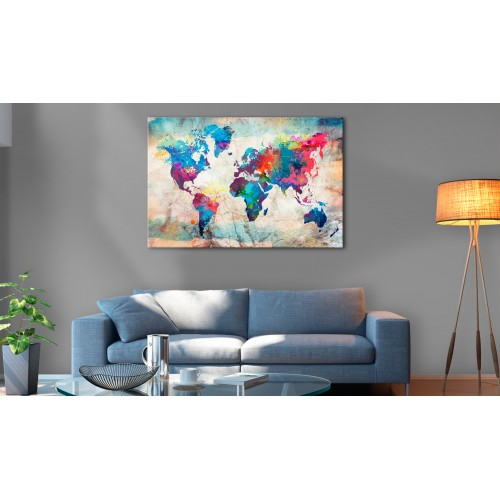Quadri di sughero - World Map: Colourful Madness [Cork Map] - Quadri e decorazioni