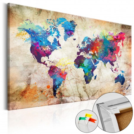 Quadri di sughero - World Map: Urban Style [Cork Map] - Quadri e decorazioni