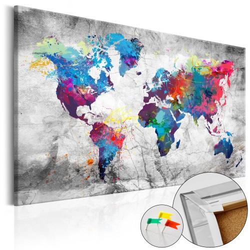 Quadri di sughero - World Map: Grey Style [Cork Map] - Quadri e decorazioni