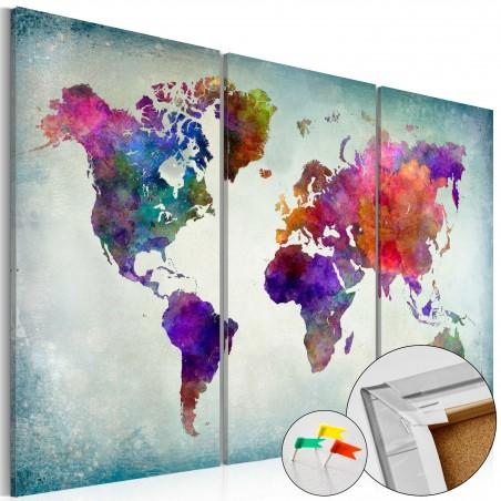 Quadri di sughero - World in Colors [Cork Map] - Quadri e decorazioni