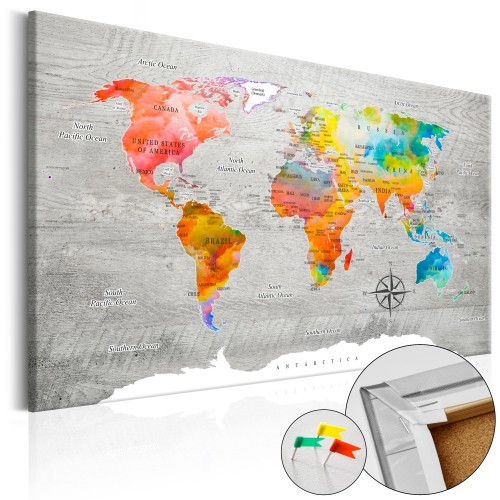 Quadri di sughero - Multicolored Travels [Cork Map] - Quadri e decorazioni