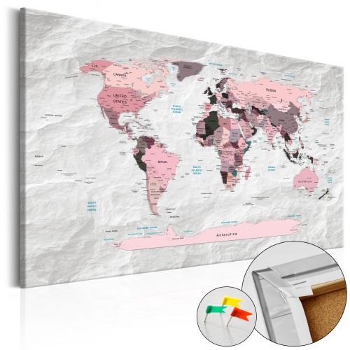 Quadri di sughero - Pink Continents [Cork Map] - Quadri e decorazioni