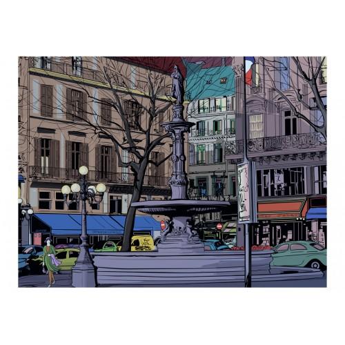 Fotomurale - Crepuscolo su una piazza parigina - Quadri e decorazioni