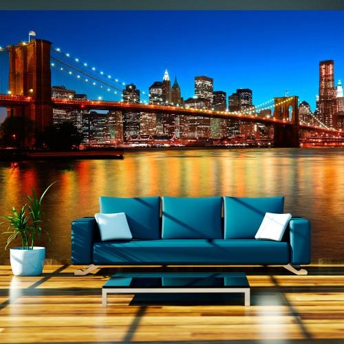 Fotomurale - Crepuscolo sopra il ponte di Brooklyn - Quadri e decorazioni