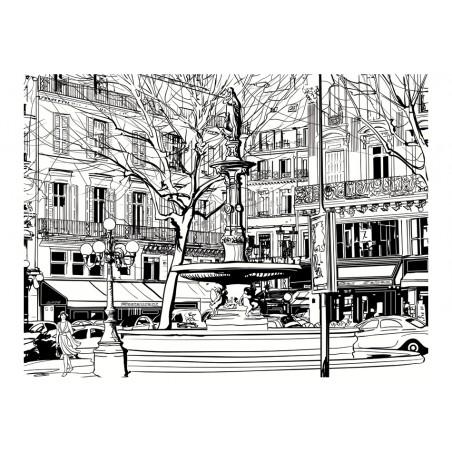 Fotomurale - Sketch of parisian fountain - Quadri e decorazioni