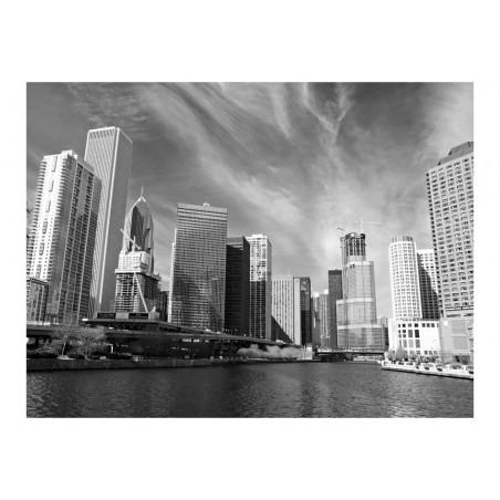 Fotomurale - Panorama di Chicago (bianco e nero) - Quadri e decorazioni