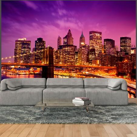 Fotomurale - Manhattan e il Ponte di Brooklyn di notte - Quadri e decorazioni