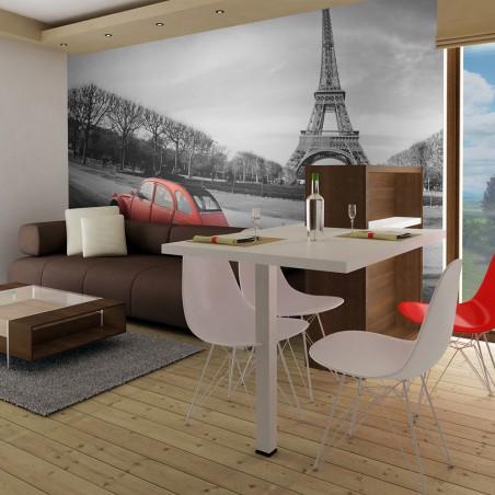 Fotomurale - Torre Eiffel e macchina rossa - Quadri e decorazioni