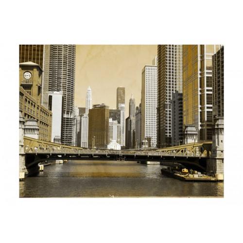 Fotomurale - Un ponte di Chicago (effetto vintage) - Quadri e decorazioni