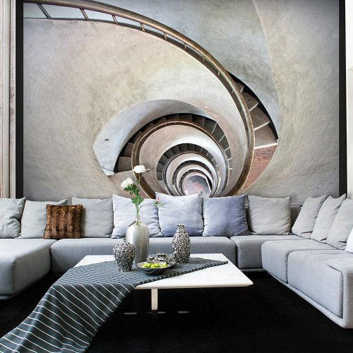Fotomurale - White spiral stairs - Quadri e decorazioni