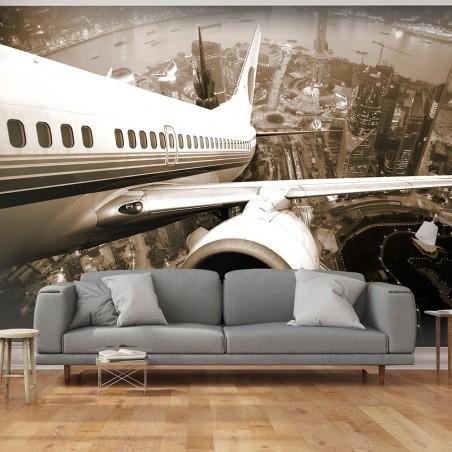 Fotomurale - Vista su città da un aereo decollante - Quadri e decorazioni