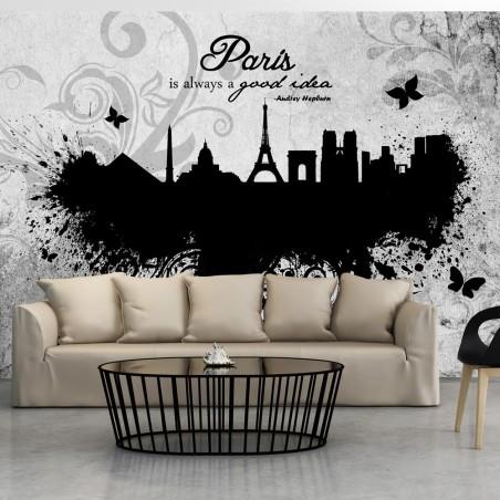 Fotomurale - Paris is always a good idea - black and white - Quadri e decorazioni