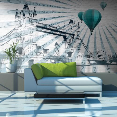 Fotomurale - Volo in mongolfiera sopra il Tower Bridge - Quadri e decorazioni