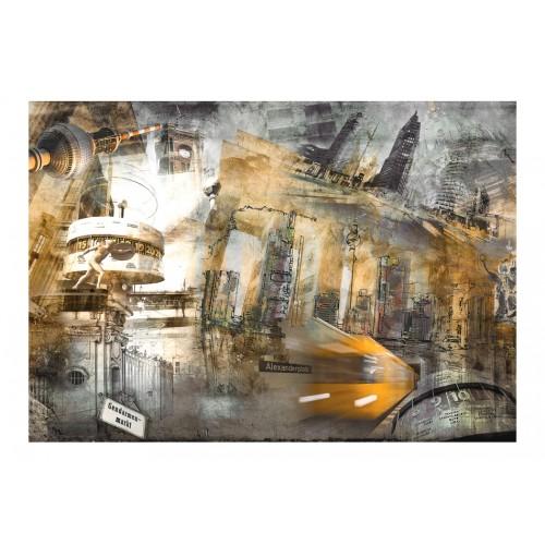 Fotomurale - Berlino - collage (arancione) - Quadri e decorazioni