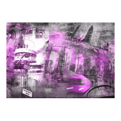 Fotomurale - Berlino - collage (viola) - Quadri e decorazioni