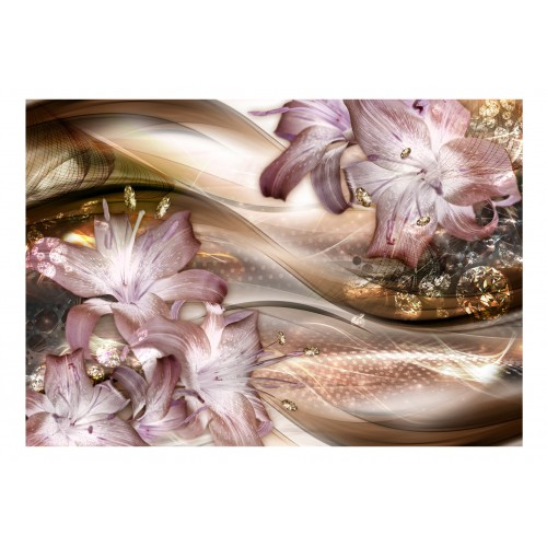 Fotomurale - Lilies on the Wave (Brown) - Quadri e decorazioni