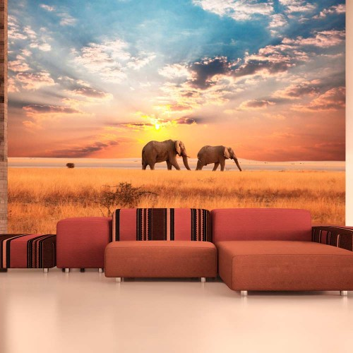 Fotomurale - Elefanti nella savana africana - Quadri e decorazioni