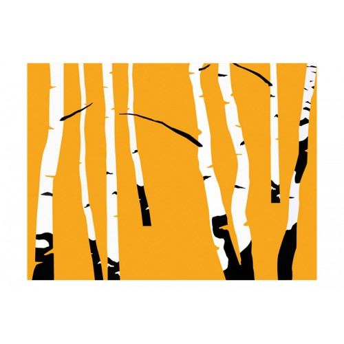 Fotomurale - Birches on the orange background - Quadri e decorazioni