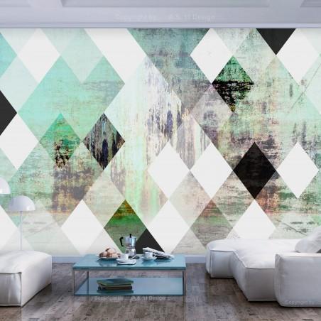 Fotomurale - Rhombic Chessboard (Green) - Quadri e decorazioni