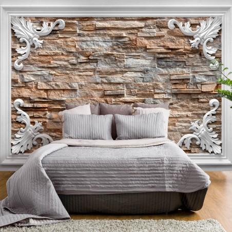 Fotomurale - Brick in the Frame (Brown) - Quadri e decorazioni