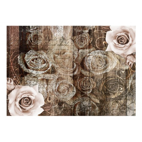 Fotomurale - Old Wood & Roses - Quadri e decorazioni