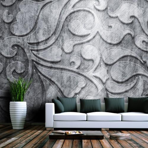 Fotomurale - Sfondo grigio con motivi floreali - Quadri e decorazioni