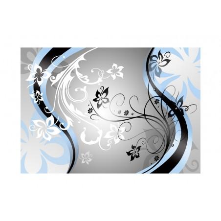 Fotomurale - Zig zag floreali (azzurro) - Quadri e decorazioni