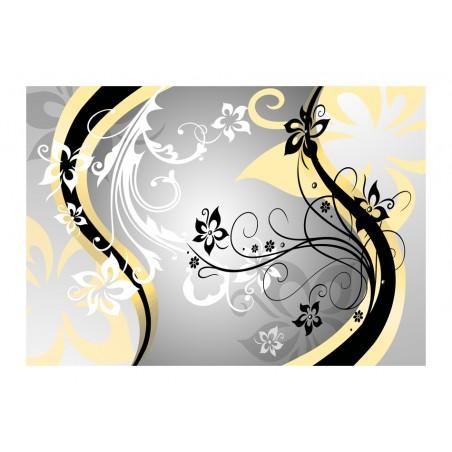 Fotomurale - Zig zag floreali (giallo) - Quadri e decorazioni
